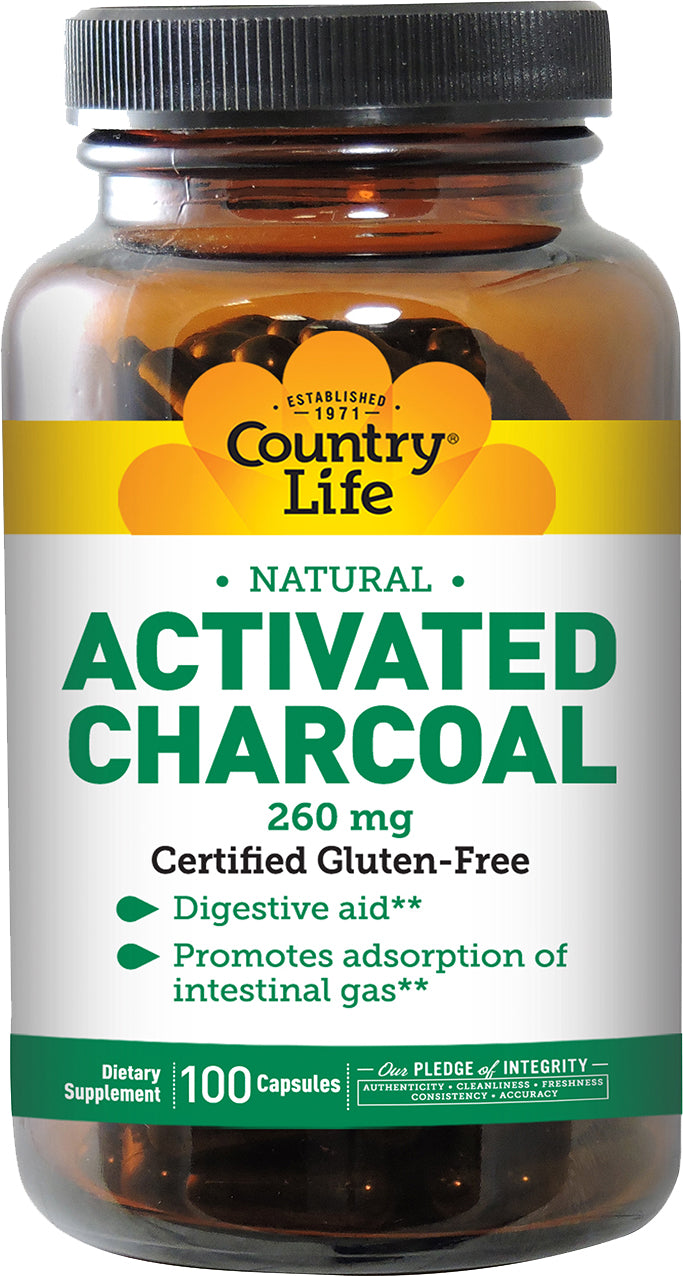 Activated Charcoal 260 mg, 100 Capsules