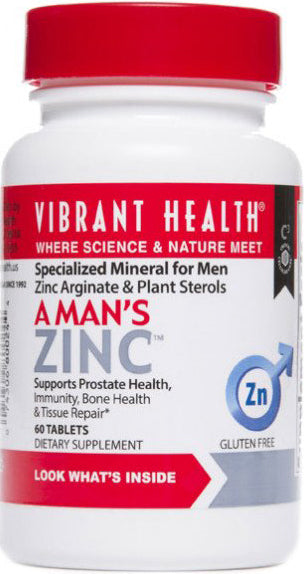 A Man's Zinc, 30 mg Zinc Arginate & 199 mg Phytosterols, 60 Tablets