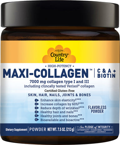 Maxi-Collagen™ C & A + Biotin, Flavorless Powder, 7.5 oz (213 Grams)