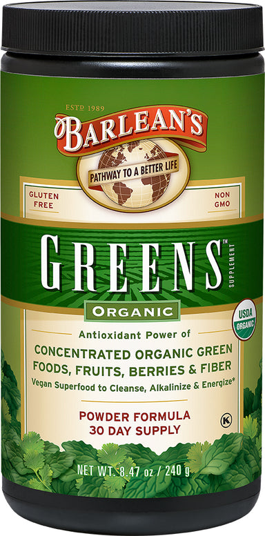 Organic Greens, Concentrated Organic Green Foods Fruits Berries & Fiber, 8.47 Oz (240 g) Powder