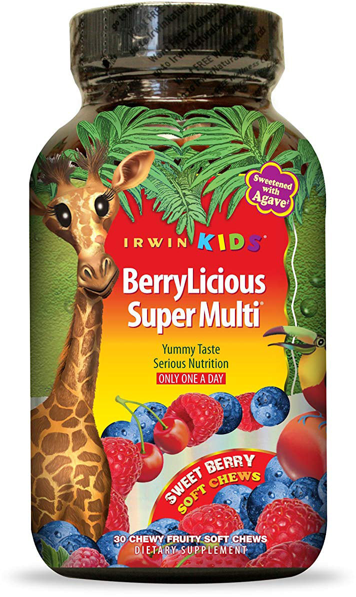 Irwin Kids BerryLicious Super Multi, Sweet Berry Flavor, 30 Chewables