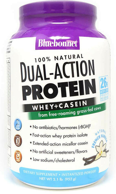 100% Natural Dual-Action Protein Whey + Casein from free-roaming grass-fed cows, 26 g Microfiltered of Protein Per Serving, French Vanilla Flavor, 2.1 Lb (952 g) Powder