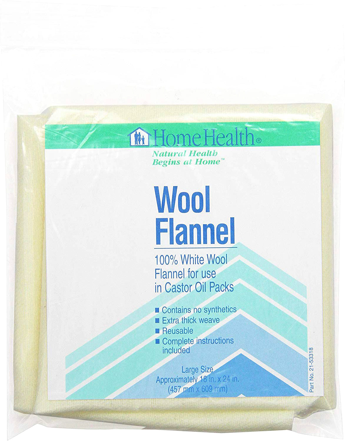 "Wool Flannel - 100% White Wool Flannel for Use in Castor Oil Packs, Approx. 18"" x 24"" (457 mm x 609 mm)"