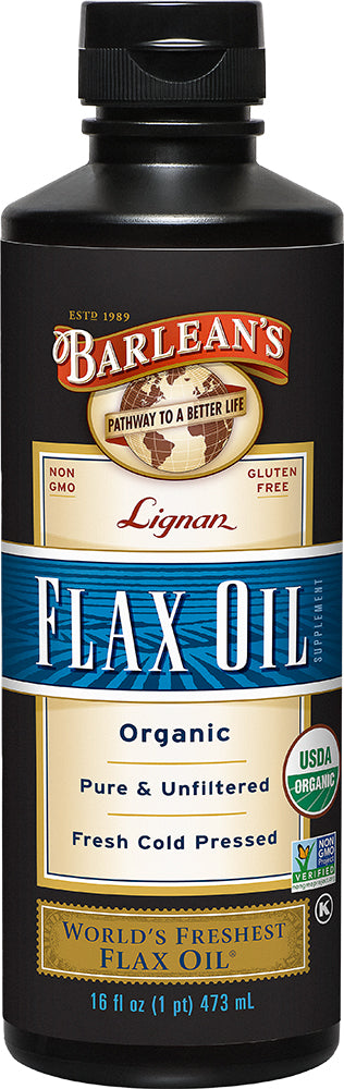 Organic Pure & Unfiltered Fresh Cold Pressed Lignan Flax Oil, 16 Fl Oz (473 mL) Liquid