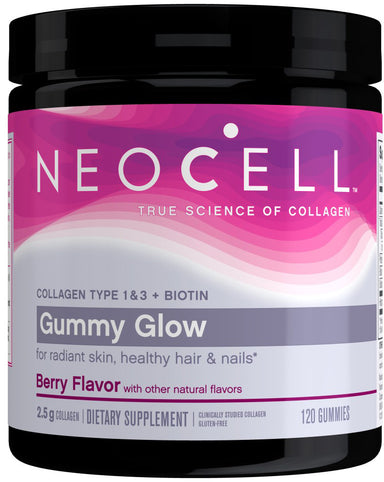 Super Collagen Type 1 & 3 + Biotin Gummy Glow, Berry Flavor, 2.5 g Collagen, 120 Gummies