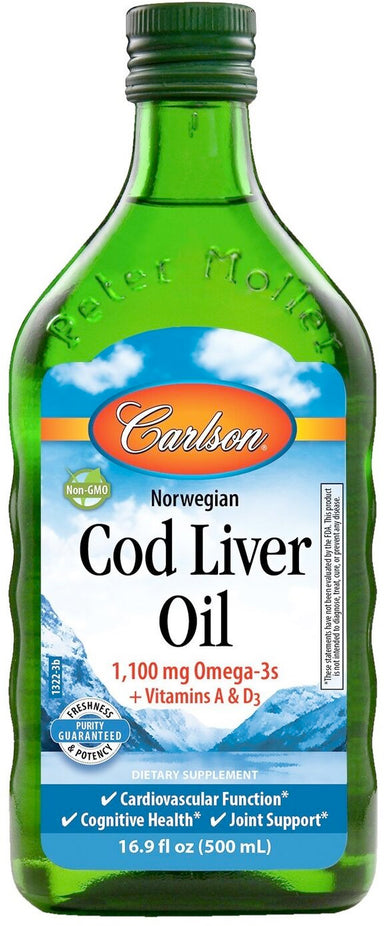 Cod Liver Oil, 1100 mg of Omega-3, 16.9 Fl Oz (500 mL) Liquid
