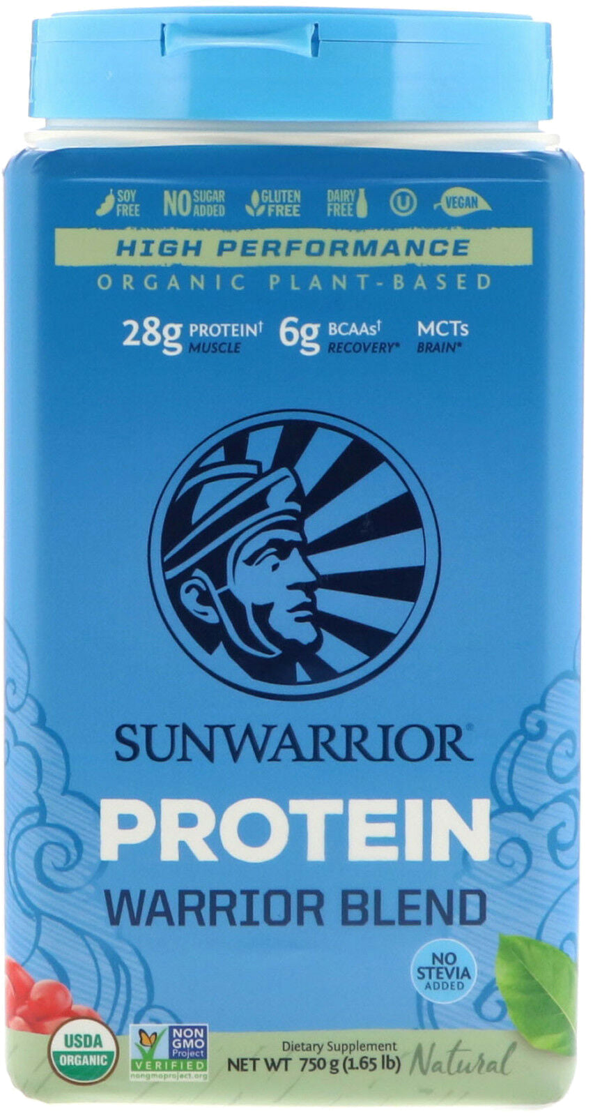 Organic Plant-Based Warrior Blend Protein, 28 g of Protein per Serving with 6 g of BCAAs and MCTs, Unflavored, 1.65 Lb (750 g) Powder