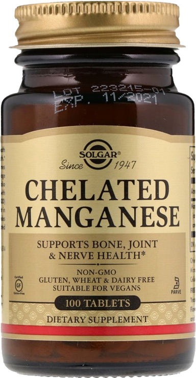Chelated Manganese, 100 Tablets