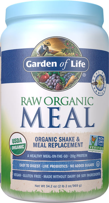 Raw Organic Meal, 20 g of Protein, Vanilla Flavor, 34.2 Oz (969 g) Powder
