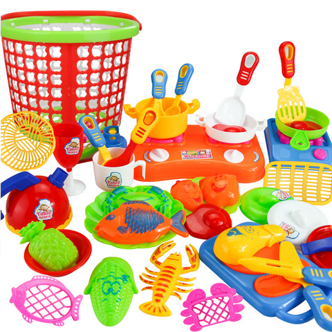 35pcs Plastic Kids Children Kitchen Utensils Food Cooking Pretend Play Set Toy