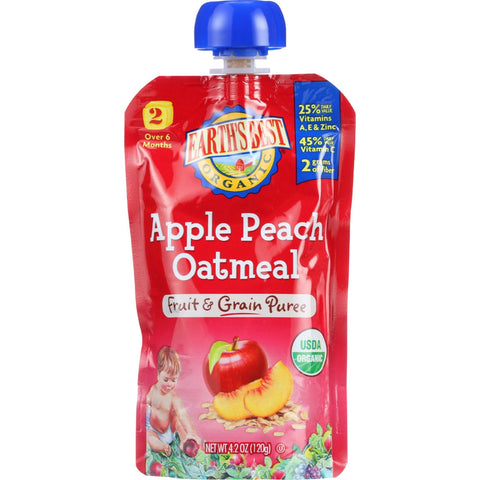 Earths Best Baby Food - Organic - Fruit and Grain Puree - Pouch - Age 6 Months Plus - Stage 2 - Apple Peach Oatmeal - 4.2 oz - case of 12