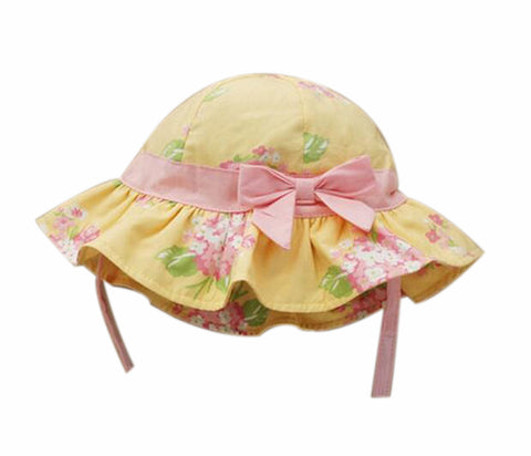 Summer Baby Girl Caps Cotton Sun Hat For 2-3 Years Baby Yellow Flower