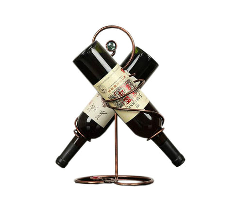 Hold Two Wine Bottle Wine Rack Storage Organizer Display Holder Golden