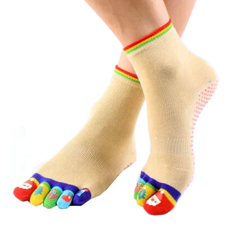 Santa Claus Women's Non-Slip Socks Full Toe Yoga Socks Pilates Socks,Yellow