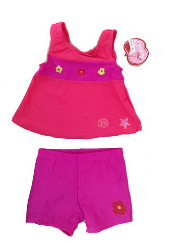 1-3 Years Old Girls Two Piece Swimsuits Color Block Fuchsia Swimwear