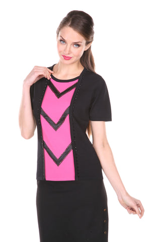 Round Neck, Short Sleeves Top With Satin Triming And Reinstones Blk/Pink Large/Extra Large: Blk/Pink, Medium/Large