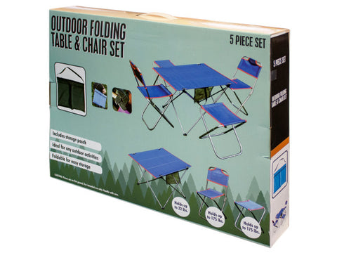Outdoor Folding Table & Chairs Set: Case of 1