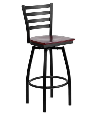 Flash Furniture HERCULES Series Black Ladder Back Swivel Metal Bar Stool-Mahogany Wood Seat [XU-6F8B-LADSWVL-MAHW-GG]