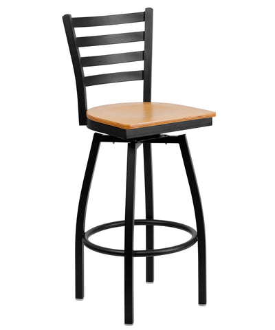 Flash Furniture HERCULES Series Black Ladder Back Swivel Metal Bar Stool-Natural Wood Seat [XU-6F8B-LADSWVL-NATW-GG]