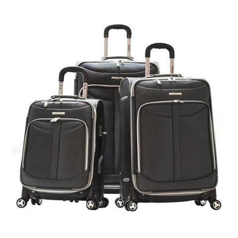 Olympia Tuscany 3 Piece Expandable Rolling Case Wheeled Carry On luggage Suitcase Set Black