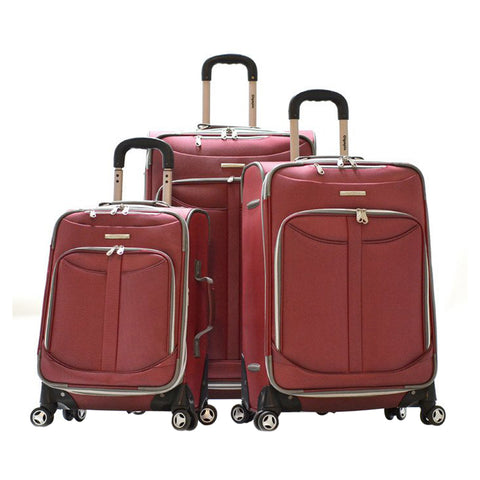 Olympia Tuscany 3 Piece Expandable Outdoor Travel Rolling Luggage Suitcase Set in Red