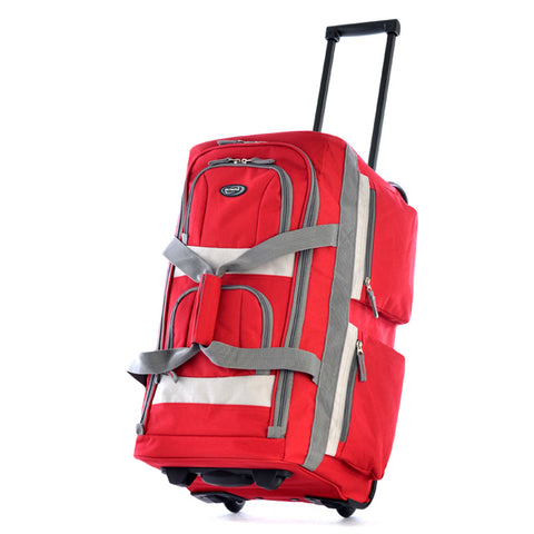 "Olympia 22"""" 8 Pocket Sports Cargo Travel Rolling Duffel Carry-On Luggage Suitcase Tote Bag Red"