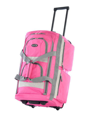 "Olympia 26"""" 8 Pocket Rolling Wheeled Luggage Suitcase Travel Tote Duffel Bag Hot Pink"