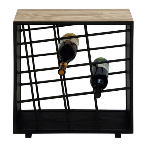 Classic Metal Wood Wine Rack