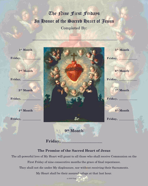 First Friday Devotion Certificate - Sacred Heart & Jesuit Saints