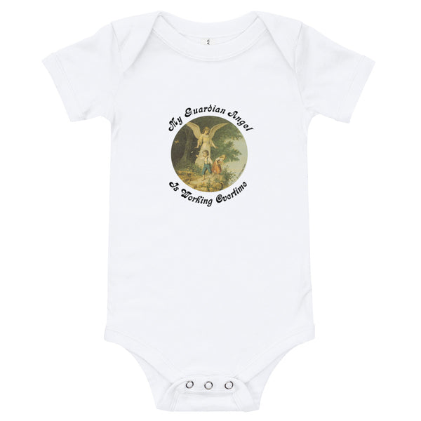 "Baby Bodysuit ""My Guardian Angel Is Working Overtime"""