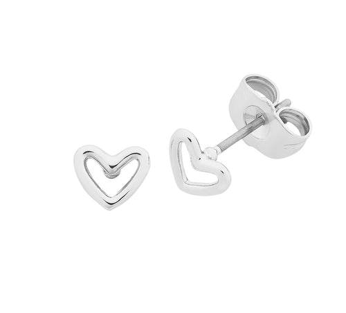 Petite Heart Silver Earrings