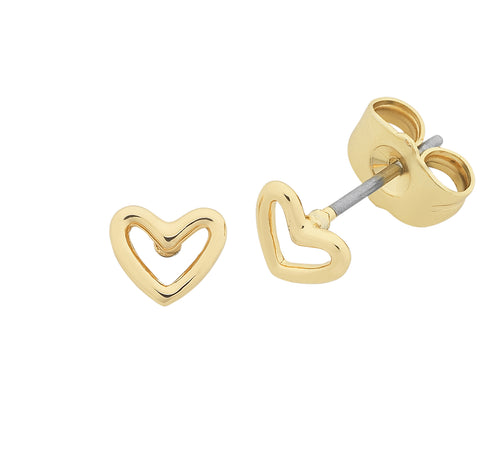 Petite Heart Gold Earrings