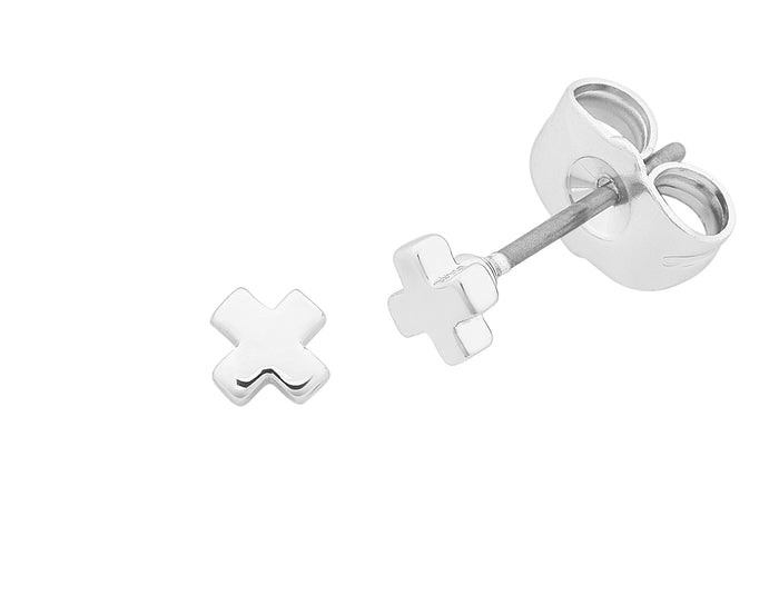 Petite Cross Silver Earrings