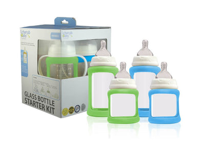 Cherub Baby - Glass Baby Bottles Starter Kit (Green Blue)
