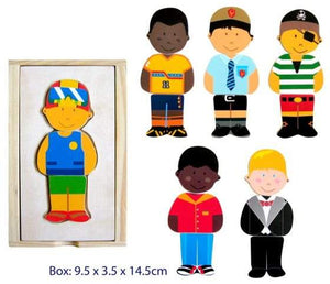 Fun Factory - 18pcs Mix & Match Dress Up Boy Wooden Puzzle Set