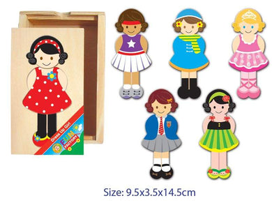 Fun Factory - 18pcs Mix & Match Dress Up Girl Wooden Puzzle Set