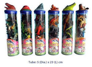 7 Pcs Plastic Animals with playmat in a tube