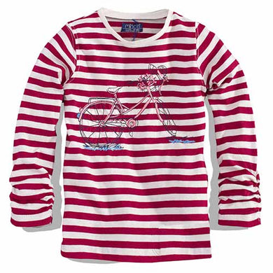 Minoti - Girls Striped Long Sleeves Top (Petal3Red)