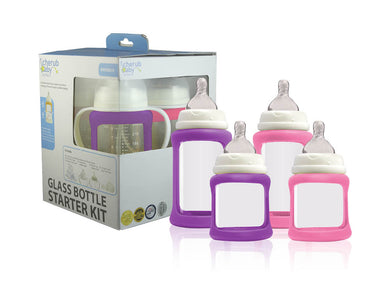 Cherub Baby - Glass Baby Bottles Starter Kit (Purple Pink)