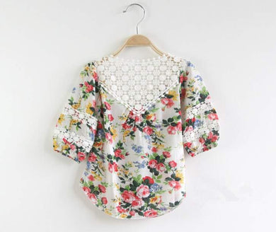 Girls Lace Embroidered Coloured  Shirts