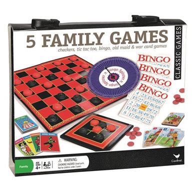 5 Family Games (Checkers, Tic tac toe, bingo, Old maid & war card games)