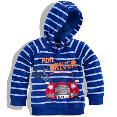 Minoti - Boys Striped Fleece Hooded Top (Scooter7)