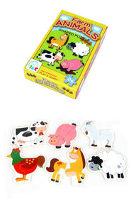 Kaper Kidz - 6  Farm Animals Shaped Wooden Puzzles