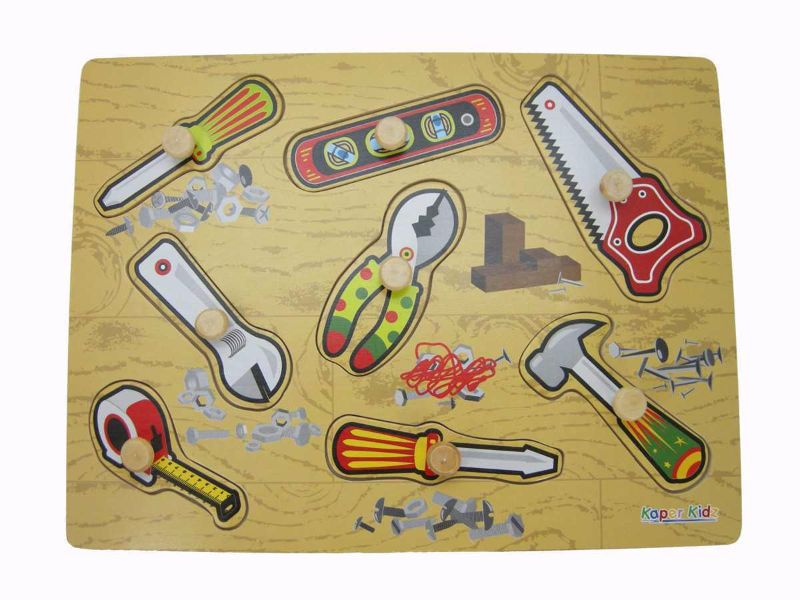 Kaper Kidz - Wooden Puzzle with Knobs - Tools