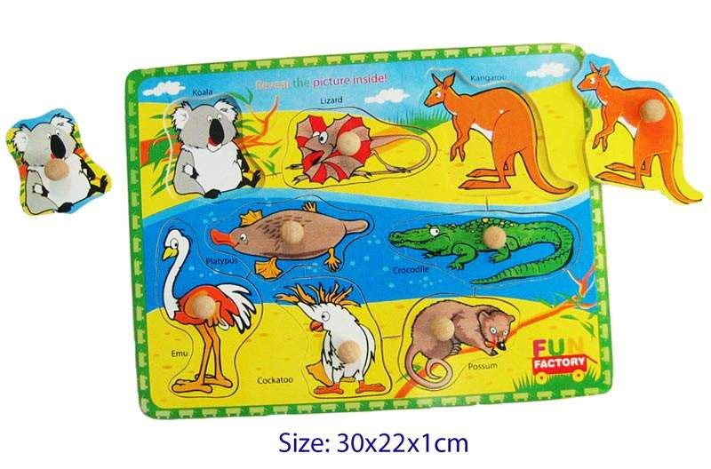 Fun Factory - Wooden Puzzle with Knobs - Australian Animals