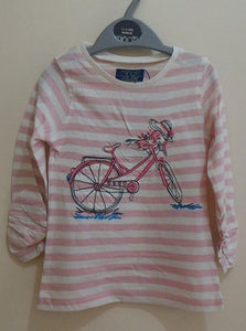 Minoti - Girls Striped Long Sleeves Top (Petal3Pink)