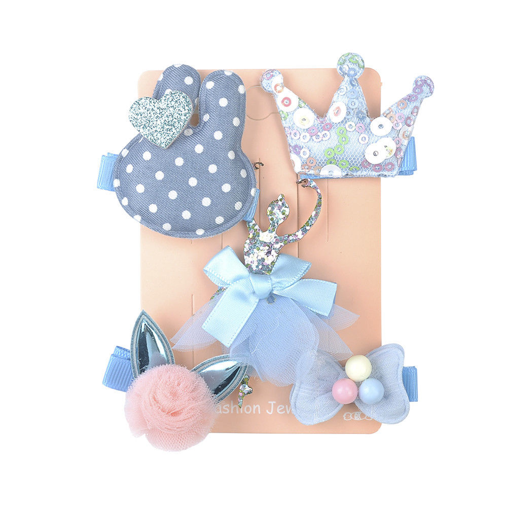 5 Pcs Kids Hair Clips (BLUE Ballerina)