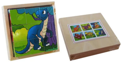 Elka - Wooden Cube Puzzle - Dinosaurs