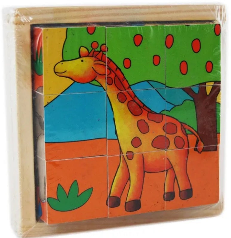 Elka - Wooden Cube Puzzle - Zoo Animals