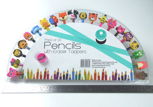 Graphite and Colouring Pencils with Animals Eraser Toppers Set
